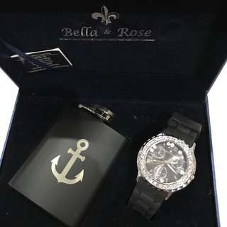 JAM TANGAN BELLA AND ROSE ITALY WATCH COMPLETE SET WITH CAPTAIN BEER BOTTLE