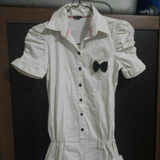 Preloved Jumpsuit Polkadot Putih Model Kemeja