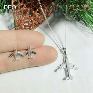 Airplane necklace and earrings