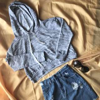 Folded & Hung Gray Cropped Hoodie (XS-S)