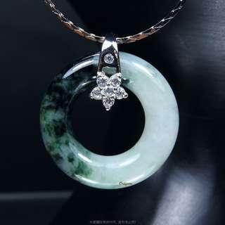 🚚 珍珠林~特價結緣品~A貨天然緬甸翡翠環型玉墬~圓滿.圓融#788