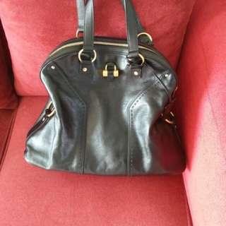 ysl black muse leather bag