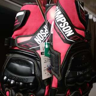 SIMPSON RACING GLOVES RED BLACK SIZE L