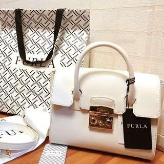 Furla 全新 兩用 白色 荔枝皮 手袋 handbag