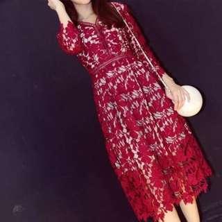 全新 酒紅色 蕾絲洋裝 L號 現貨 只有一件