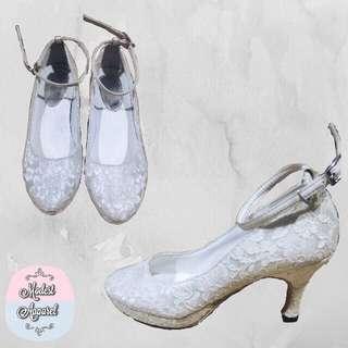 White laced sandal