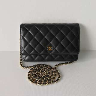 Excellent like new Chanel classic wallet on chain black