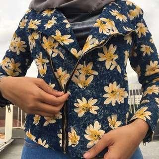 Blazer Yellow Flower Lily Denim Jeans Summer Tropical Jacket Biker