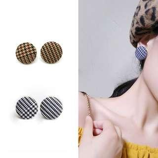 ╭✿蕾兒0509✿╮EB044-韓國氣質出眾小香風千島格子布藝無耳洞耳夾U型夾耳飾品
