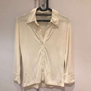 Mango White Fitted Top (Size M)