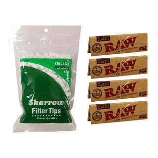 (D1)手捲煙濾咀+煙紙組合 / 1x Sharrow King Size Menthol Filter Tips + 4x RAW Classic Single Wide Rolling Papers