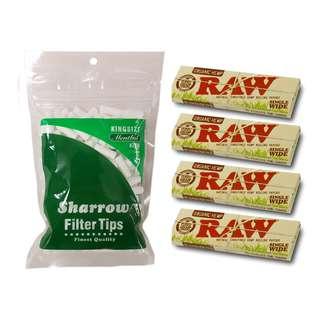 (D2)手捲煙濾咀+煙紙組合 / 1x Sharrow King Size Menthol Filter Tips + 4x RAW Organic Hemp Single Wide Rolling Papers