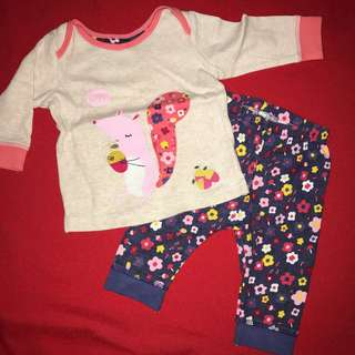 Mothercare leggings and long-sleeved top set   up to 3 months BABY CLOTHES