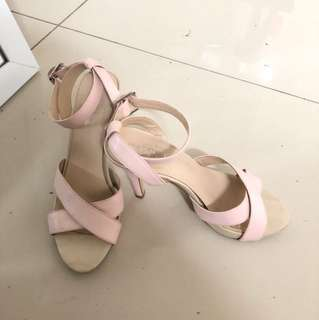 Pink genuine leather shoes