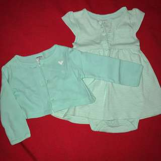 """Carter's mint green/white striped dress with mint green """"jacket"""" 6 months baby clothes"""