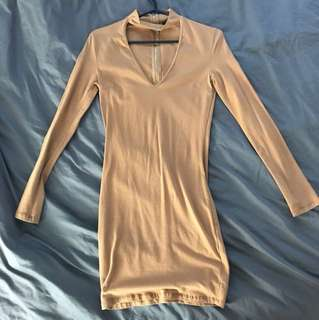 Camel choker dress
