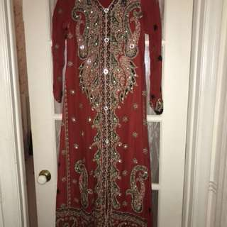 Pakistani fancy red long dress