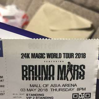 Bruno Mars ticket vip2 standing -lower than actual pric