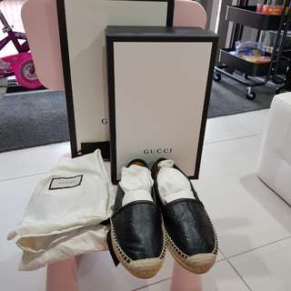 QUICK SALE Authentic Gucci Black Leather Espadrilles