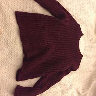 Over sized knitted burgundy sweater from target