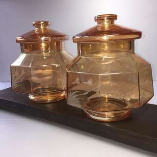 2 for $35,Peach Colour Octagon Glass Candy Jar