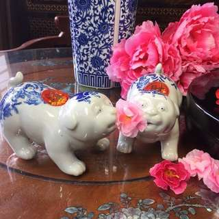 2 for $38,Blue & White ceramic dog