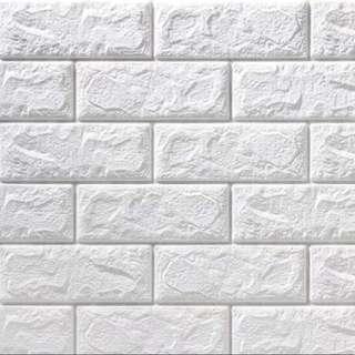 [預訂]3D 立體磚紋牆紙  **白色**