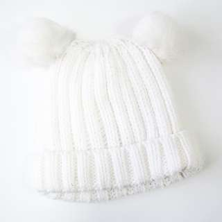 H&M Cute White Knitted Beanie with Fur Pom-Poms