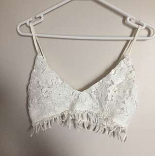 WHITE LACE CROP TOP BRALET