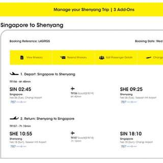 Scoot air- ticket SIN-SHE round trip during CNY Period