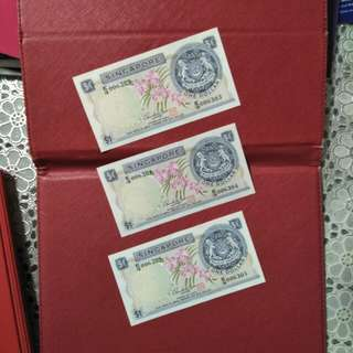 Sg  3pcs old notes  running  number