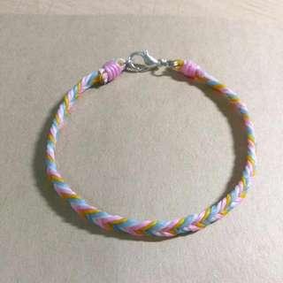 客制化蠶絲蠟線手環-四色四股平編粉色