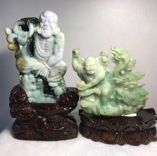 Natural Jadeite Myanmar Jade Crouching Tiger And Dragon Arahat 天然缅甸玉A货翡翠 降龙伏虎 阿罗汉