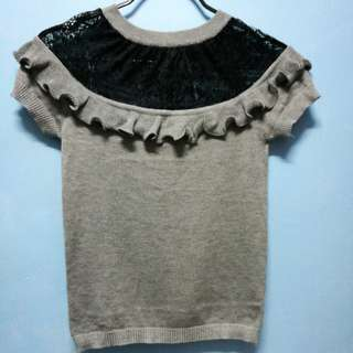 Gray knit top with lace detail