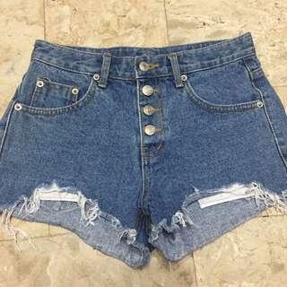 Hiwaist maong shorts