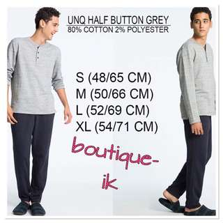 Uniqlo half button grey