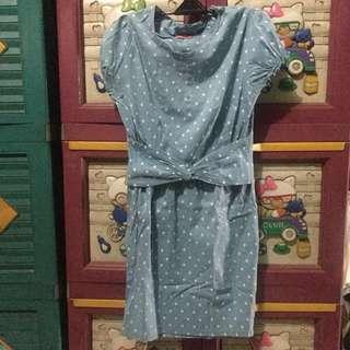 Dress korea polkadot biru putih lucu