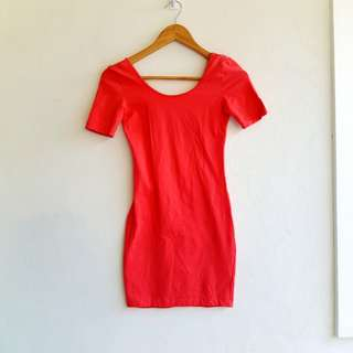 Coral Fitted Dress