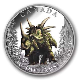Uniq2016 $10 Pure Silver Coin -Day of the Dinosaurs:The Spiked Lizard