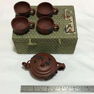 30% OFF GREAT CNY GIFT/SALE {Collectibles Item - Vintage 陶藝茶具} Lovely Vintage Classic Design Chinese 5 Pieces Teapot  Set 紫砂茶具