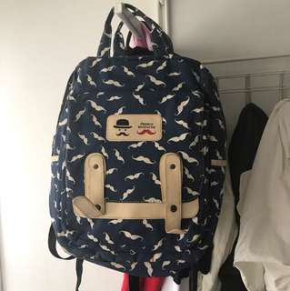 French Mustache Backpack