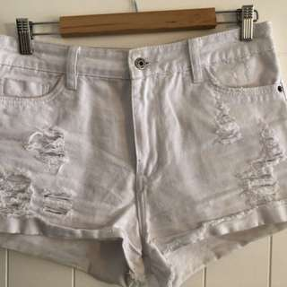 White ripped junk food shorts