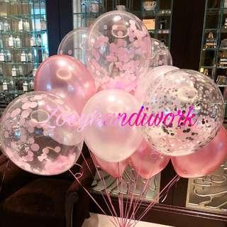 Helium balloon, helium balloon with confetti @zoeyhandiwork