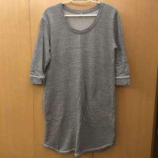Muji 無印良品 灰色七分袖連身裙