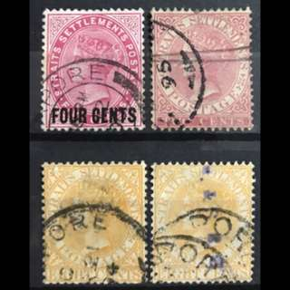 Straits Settlements Queen Victoria Stampes 4v some Fine Used