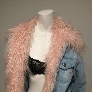 Denim Jacket w/ Fur Insert