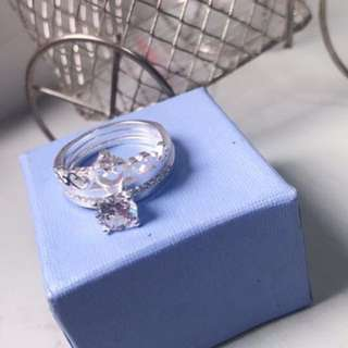 2-in-1 princess crown ring with free box