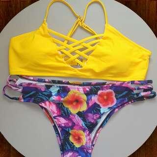 Yellow Latticed Bikini Size Small
