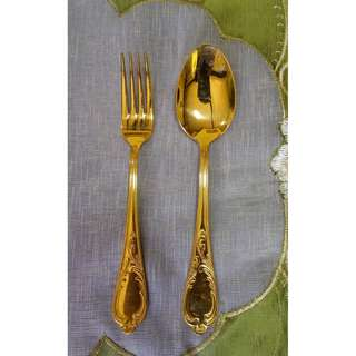 Hartvergoldet 23/24 Karat Solingen Spoon and Fork Set