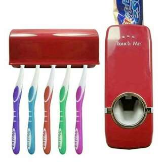 Toothpaste Dispenser automatic squeezer with toothbrush Holder